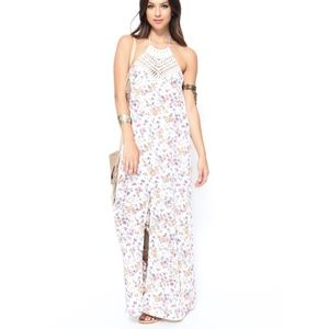 NEW HONEY PUNCH FLORAL CROCHET HALTER MAXI BOHO